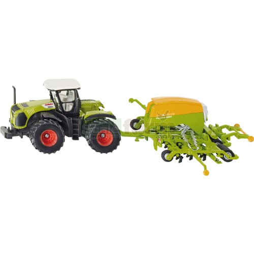 CLAAS Xerion 5000 Tractor with Amazone Cayena 6001 Seeder (SIKU 1826)