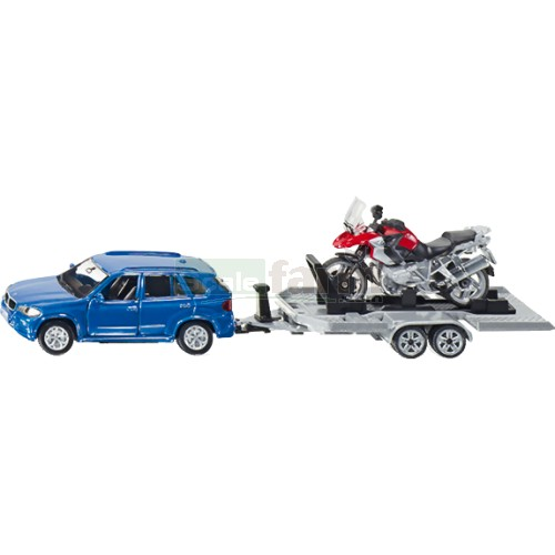 BMW X5 with Trailer and BMW R1200 GS Motorbike (SIKU 2547)