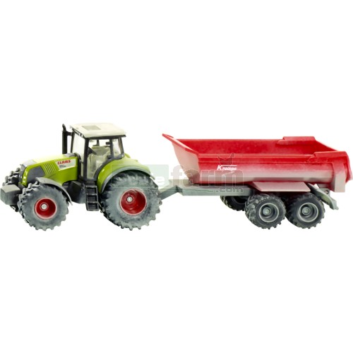 Claas Axion 850 Tractor with Krampe Tipping Trailer (Weathered Finish) (SIKU 3542)