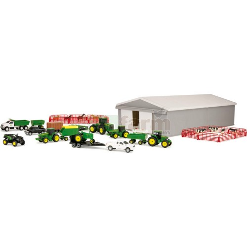 John Deere Farm Toy Playset including Machinery Shed, 9 Vehicles and 7 Implements (Britains 46276)