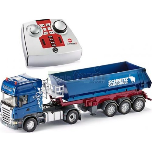 Scania Topline Truck and Tipping Trailer with 2.4GHz Remote Control - Blue (SIKU 6726/6725)