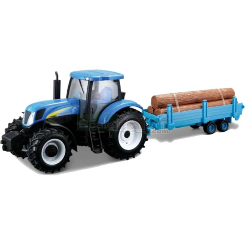 New Holland T7040 Tractor and Log Trailer (Bburago 44063)