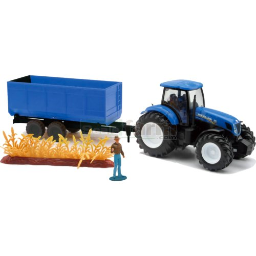 New Holland T7.270 Tractor with Tipping Trailer and Accessories (NewRay 05675)