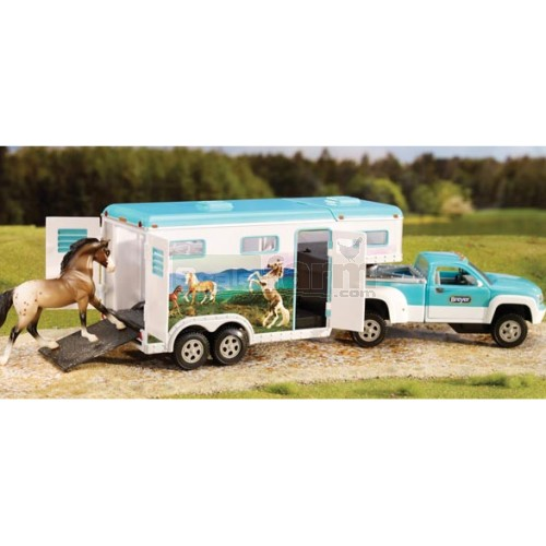 Stablemates Pick-up Truck & Gooseneck Trailer - Turquoise & White (Breyer 5356)