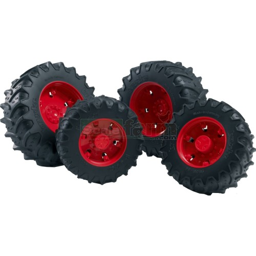 Twin Tyres With Red Rims - Premium Pro 03000 Series (Bruder 03313)