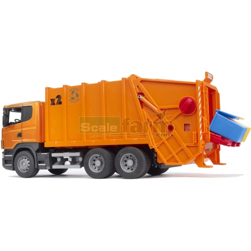 Scania R Series Garbage Truck (orange) (Bruder 03560)