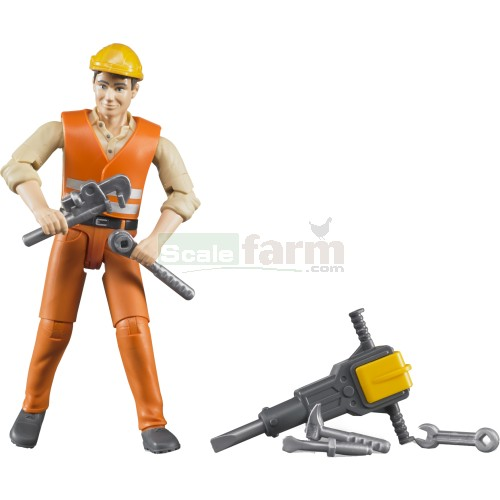 bWorld Construction Worker with Accessories (Bruder 60020)