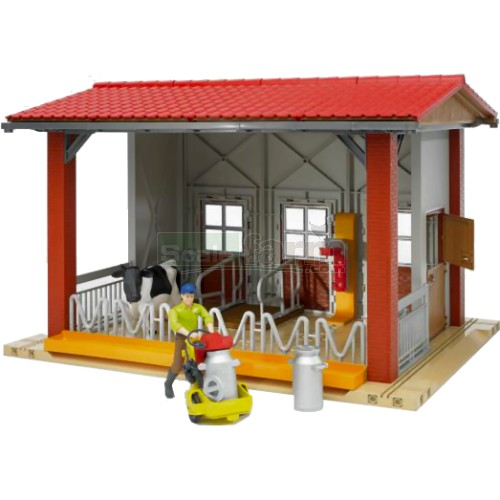 bWorld Cow Barn with Milking Machine, Cow and Figure (Bruder 62621)