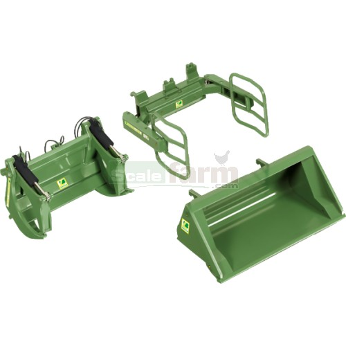 Front Loader Attachment Set A - Bressel & Lade Green (Wiking 7383)