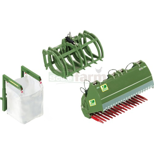 Front Loader Attachment Set B - Bressel & Lade Green (Wiking 7384)