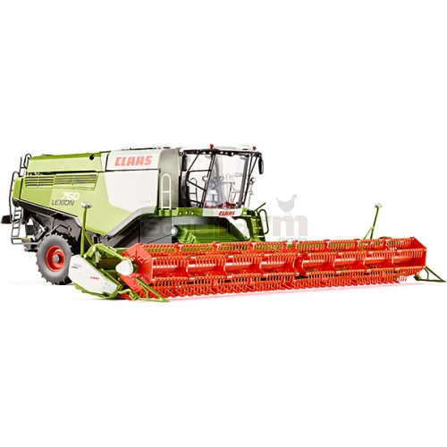CLAAS Lexion 760 TT Combine Harvester with V1200 Grain Mower (Wiking 7824)