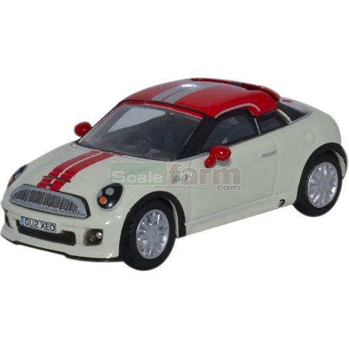 BMW Mini Coupe - Pepper White and Chilli Red (Oxford 76MC001)