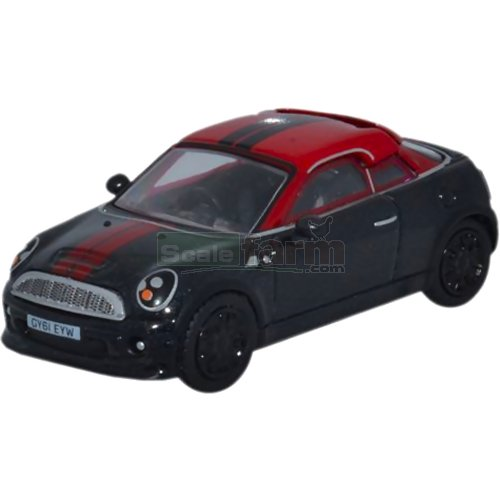 BMW Mini Coupe - Midnight Black/Red (Oxford 76MC002)