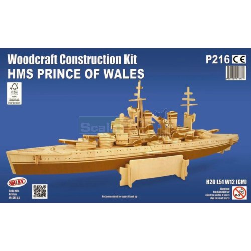 HMS Prince of Wales Woodcraft Construction Kit (Quay P216)