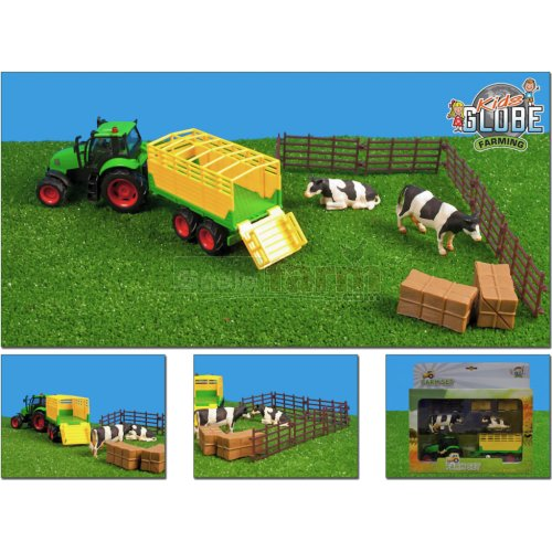 Farm Playset with Tractor, Trailer, Fencing and Cows (Kids Globe 510727)