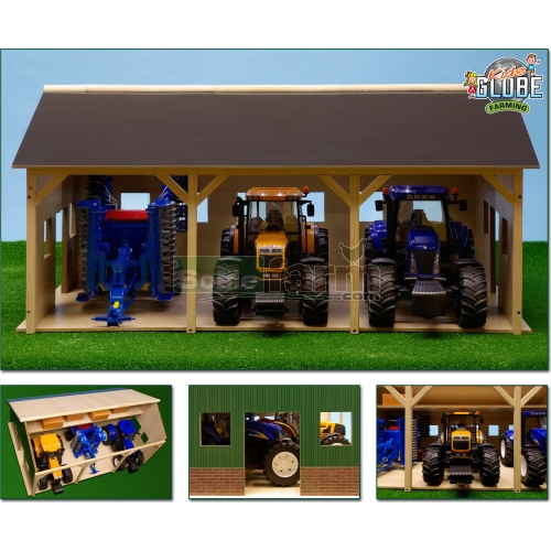 Wooden Farm Shed For Three Tractors (Kids Globe 610340)