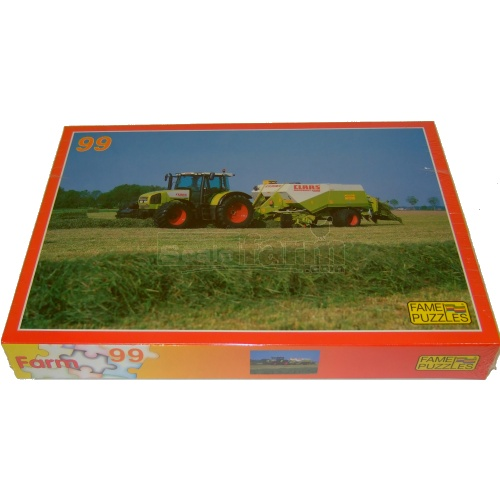 Farming Scene Jigsaw - CLAAS Ares 836 RZ Tractor with Baler (Fame Puzzles 610437)