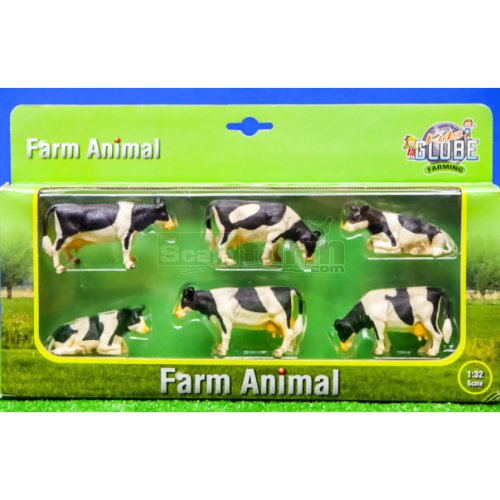 Black and White Cows (Set of 6) (Kids Globe 570009)