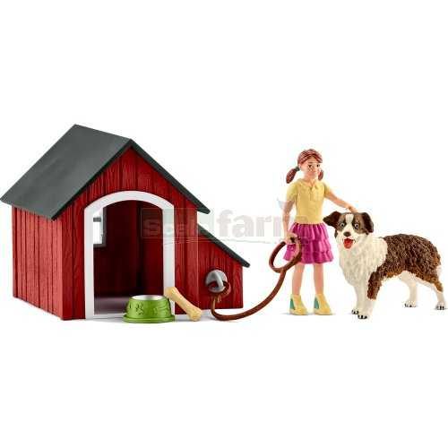 Dog Kennel with Dog, Figure and Accessories (Schleich 42376)