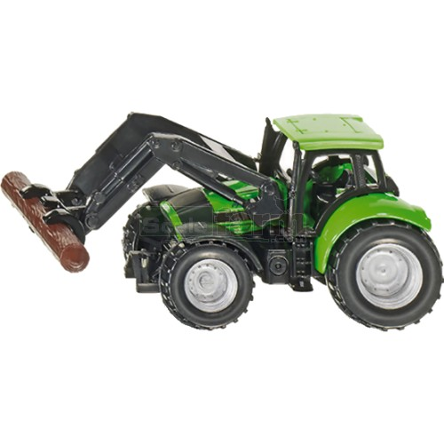 Deutz Fahr Agrotron TTV with Front Loader and Tree Trunk Grapple (SIKU 1380)