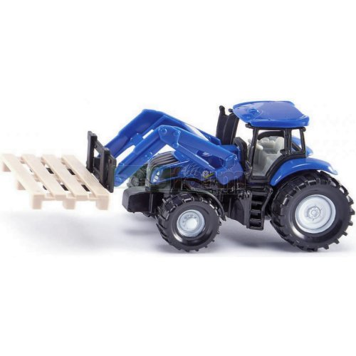 New Holland Front Loader with Pallet Fork and Pallet (SIKU 1487)