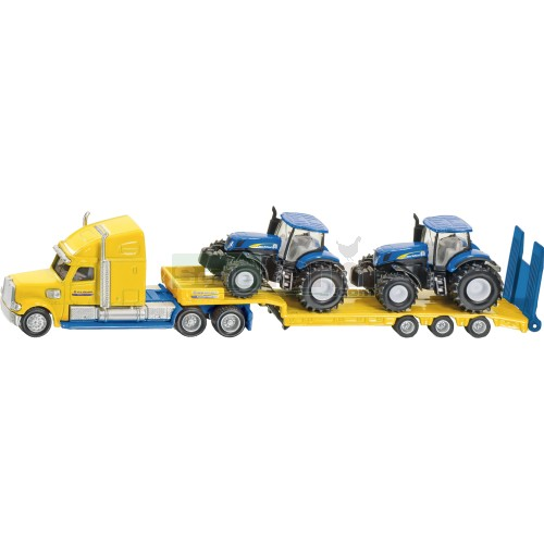 Truck and Low Loader with 2 New Holland T7070 Tractors (Siku 1805)