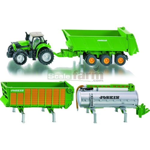 Deutz-Fahr Agrotron Tractor with Joskin 3 Trailer Set (SIKU 1848)