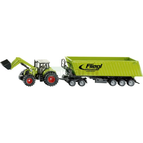 Claas Axion 850 Tractor with Frontloader, Dolly and Fliegl Tipping Trailer (SIKU 1949)