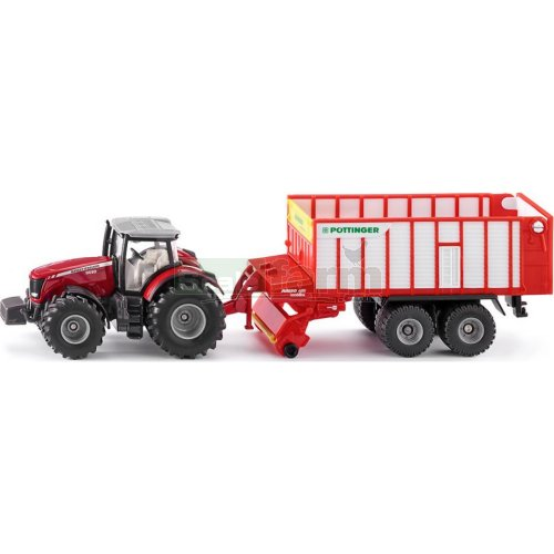 Massey Ferguson 8690 Tractor with Pottinger Jumbo 6010 Combiline Trailer (SIKU 1987)