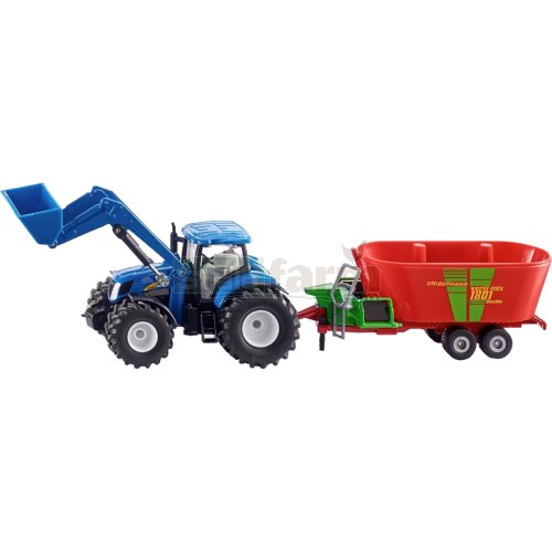 New Holland T7070 Front Loader Tractor with Strautmann Verti-Mix 1801 Double Fodder Mixer (SIKU 1988)