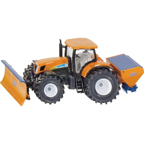 New Holland T7070 Tractor with Schmidt Ploughing Plate and Salt Spreader (SIKU 2940)