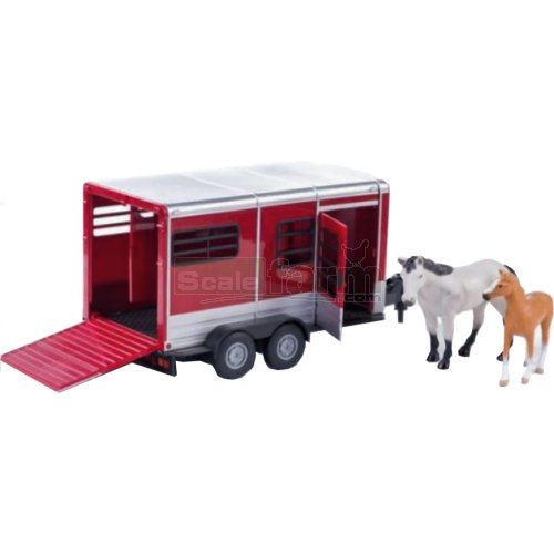 Horse Trailer with Horse and Foal - Big Farm (Burgundy) (Britains 42846A2)