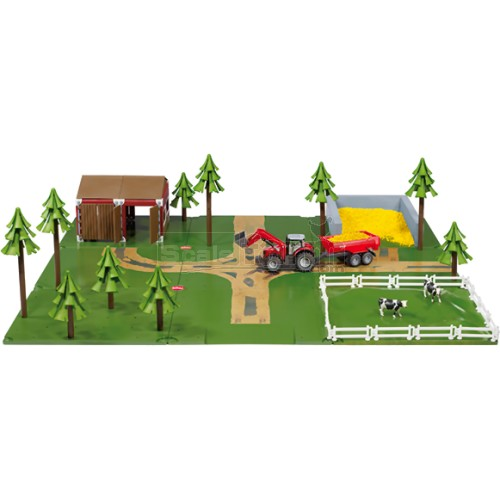 Siku World Farmer Starter Set with Barn, Silo, Tractor and Trailer, Base and Accessories (SIKU 5601)