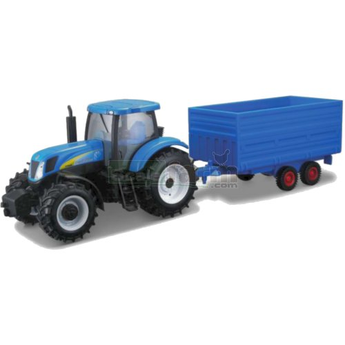 New Holland T7040 Tractor and Hay Trailer (Bburago 44061)