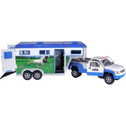 Stablemates Pick-up Truck and Gooseneck Trailer - Blue/White (Breyer 5349)