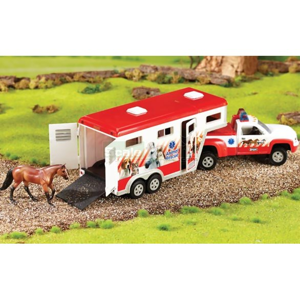 Stablemates Lights & Siren Animal Rescue Truck and Trailer (Breyer 5352)