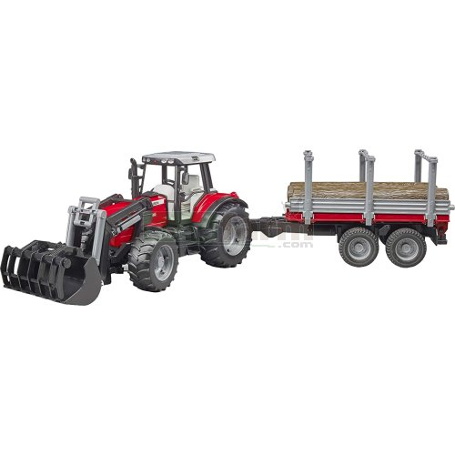 Massey Ferguson 7480 Front Loader Tractor with Timber Trailer and 3 Logs (Bruder 02046)