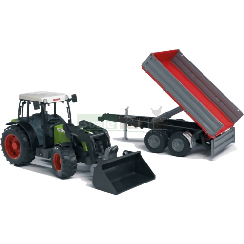 CLAAS Nectis 267 F Tractor with Frontloader And Tipping Trailer (Bruder 02112)