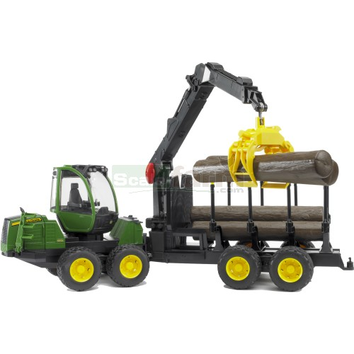 John Deere 1210E Forwarder with Grab and 4 Logs (Bruder 02133)