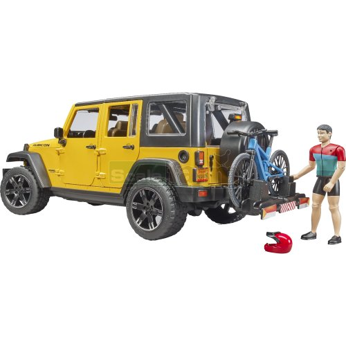 Jeep Wrangler Rubicon with MTB and Cyclist (Bruder 02543)