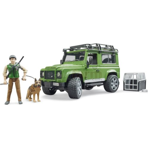 Land Rover Defender Station Wagon with Forest Ranger and Dog (Bruder 02587)