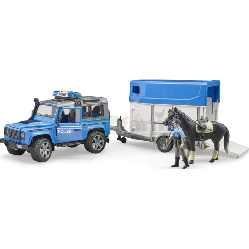 Land Rover Defender Station Wagon Police with Horse Box, Horse and Policeman (Bruder 02588)