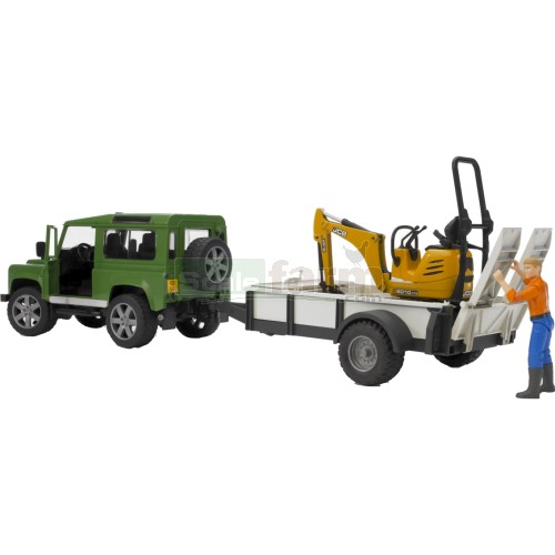 Land Rover Defender Station Wagon with Trailer, JCB 8010 CTS Micro Excavator and Figure (Bruder 02593)
