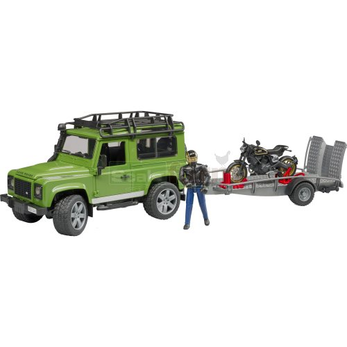 Land Rover Defender Station Wagon with Trailer, Ducati Scrambler Cafe Racer and Rider (Bruder 02598)