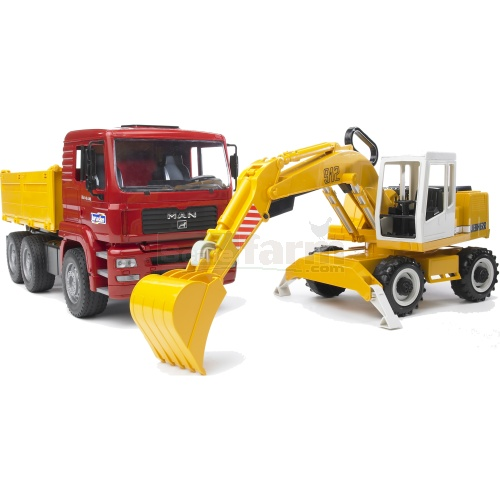MAN TGA Construction Truck And Liebherr Excavator (Bruder 02751)