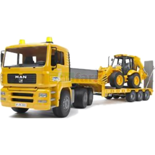 MAN TGA Low Loader Truck with JCB 4CX Backhoe Loader (Bruder 02776)