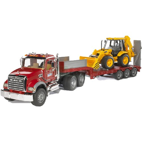 MACK Granite Truck Low Loader with JCB 4CX Backhoe Loader (Bruder 02813)
