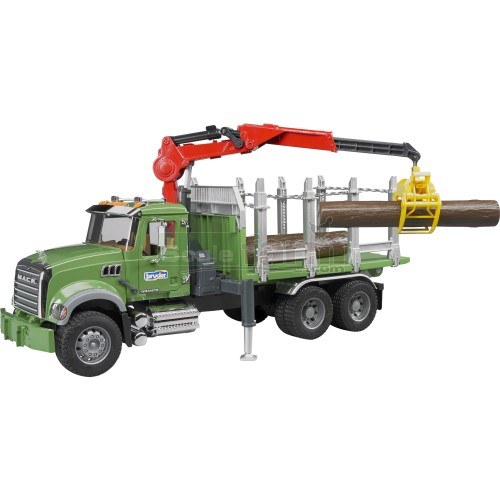 MACK Granite Timber Truck with Loading Crane and 3 Trunks (Bruder 02824)