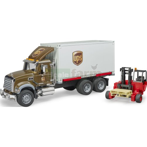 MACK Granite UPS Logistics Truck with Forklift and Pallets (Bruder 02828)