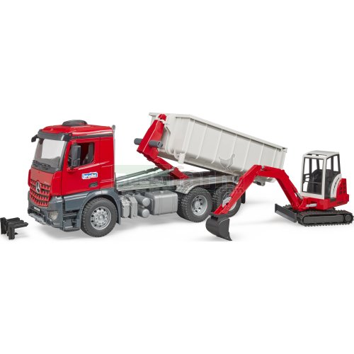 Mercedes Benz Arocs Truck with Roll-Off Container and Schaeff HR16 Mini Excavator (Bruder 03624)